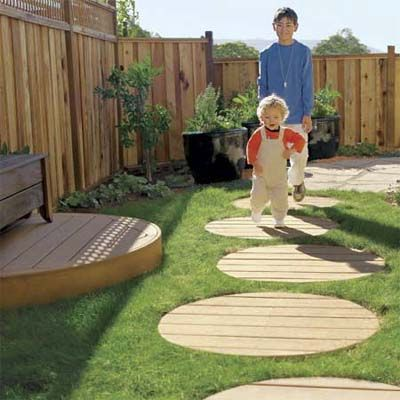 Stepping stones made with left-over composit decking. | Photo: Thomas Story | thisoldhouse.com