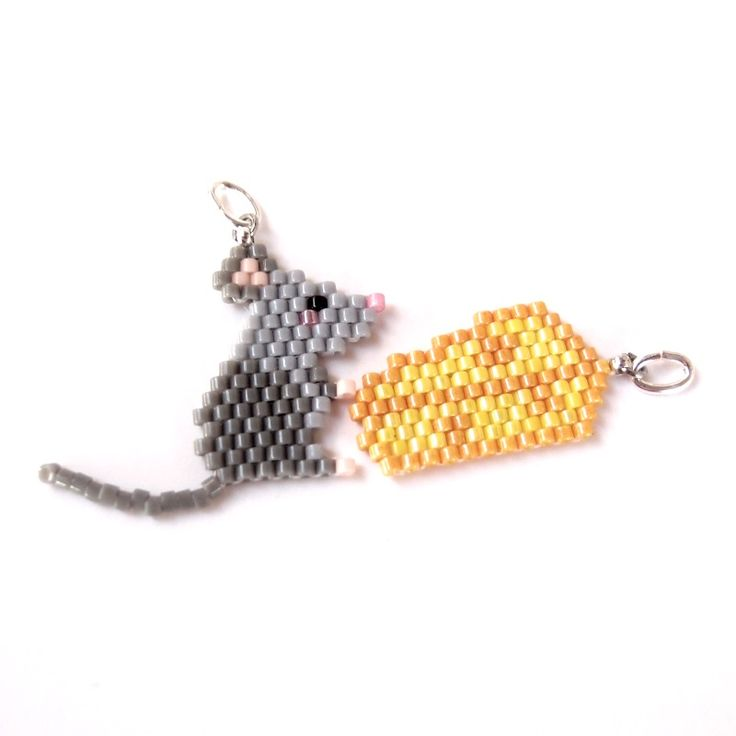 Seed Bead Mouse and Cheese Charm / Pendant Set