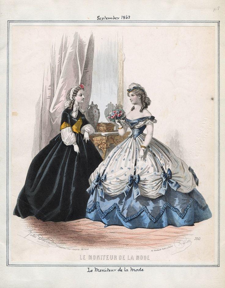 1862. Evening dress, Le moniteur de la mode, September.