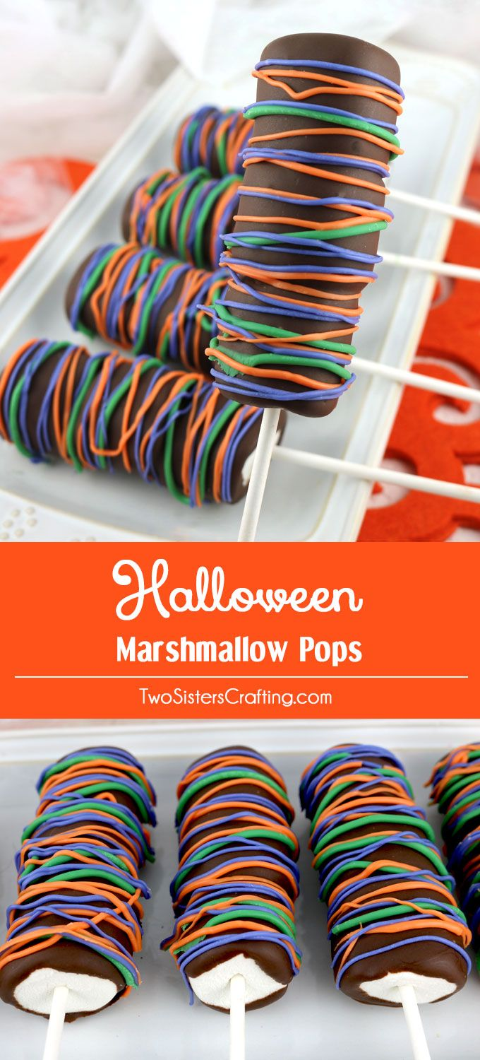 Halloween Marshmallow Pops - fun Halloween dessert that your family will love. Easy to make and super delicious, these chocolate covered Marshmallow Pops would be a great Halloween Treat for this year's Halloween Party. Pin this delicious Halloween Candy