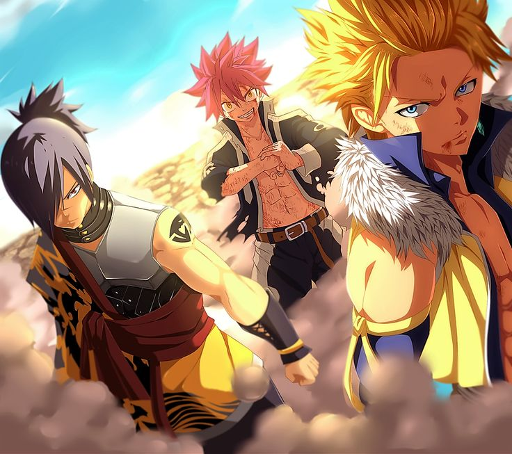 Natsu- Fire Dragon Slayer Sting-Light God Slayer Rouge-Shadow God Slayer Fairy Tail