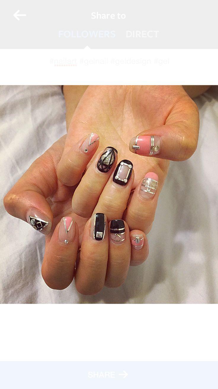 Black and coral nails.