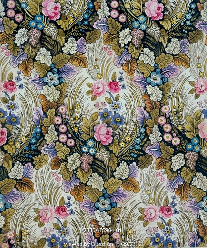 Flowered textile design, by William Kilburn (1745-1818). Watercolour design. England, 1789-91.