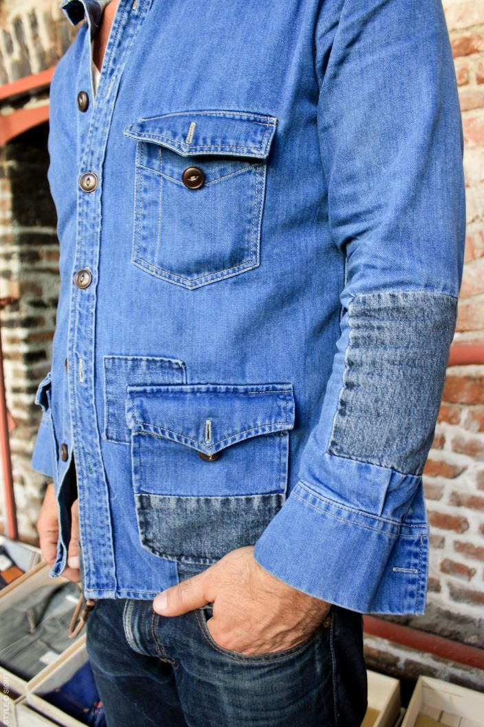 Well-worned denim bush jacket with nice boro-style patch...love it!