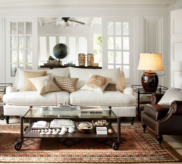 Decorate with living room with a #neutral palette. #potterybarn