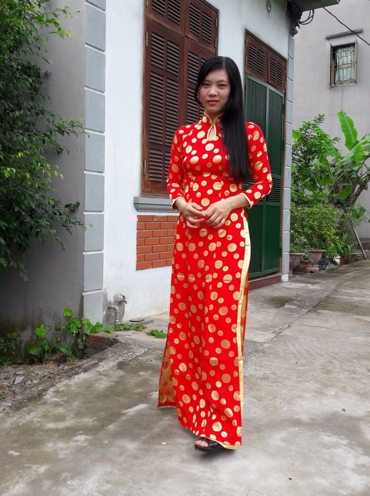 Silk Brocade, Red Yellow, Vietnam AO DAI CUSTOM MADE, Floral Pattern #HienThao #AoDai #Casual
