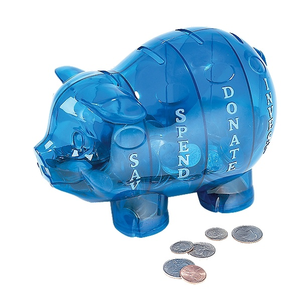 compartmentalized piggy bank save spend donate invest