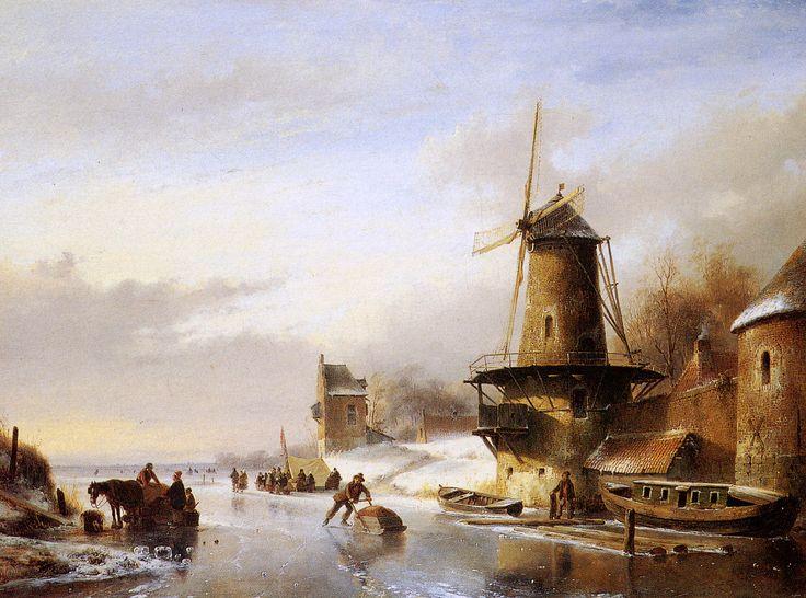 Andreas Schelfhout - Winterlandschap met schaatsers op een bevroren rivier.