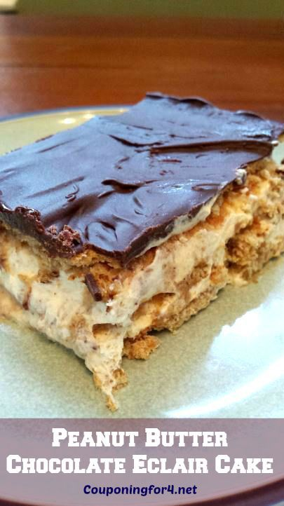 Peanut Butter Chocolate Eclair Cake Recipe - this easy and delicious no-bake dessert is about to be the new favorite in your recipe book!