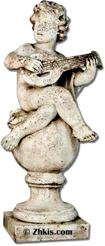 Cherub boy statue sitting on a ball finial playing a mandolin instrument. Other musical instrument pieces available as well. Made from durable fiber stone and designed for outdoor use