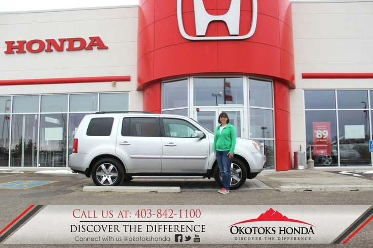 Mrs. Christensen and her new Honda Pilot - thanks to Kerry Arnold Lewis. Welcome to the OH Family! Call Okotoks Honda at 403.842.1100 for your any of your vehicle or service maintenance needs.
