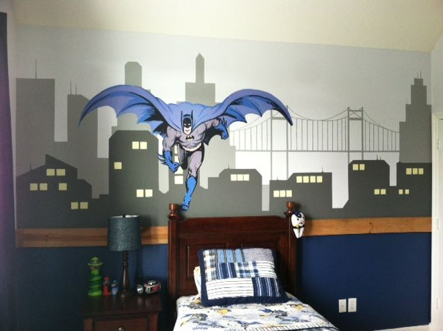 Batman wall mural I painted a few years back. Got the inspiration and the batman decal from Potter Barn kids.