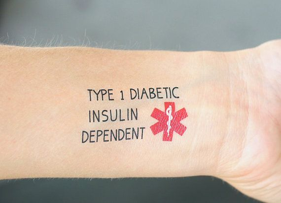 TYPE 1 DIABETES Insulin Dependent Medical Alert Temporary
