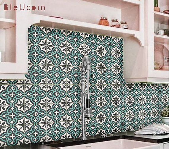 Tile/wall decal: Moroccan pattern in Dark Grey & cabana Green - 44 pcs