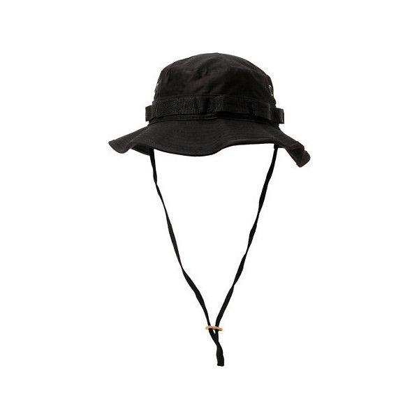 Rothco Boonie Black Bucket Hat (€19) ❤ liked on Polyvore featuring accessories, hats, fishing hat, fisherman hat, adjustable strap hats, strap hats and rothco