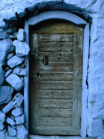 Wooden Door in Rubblestone Wall, Kalymnos, Greece Photographic Print