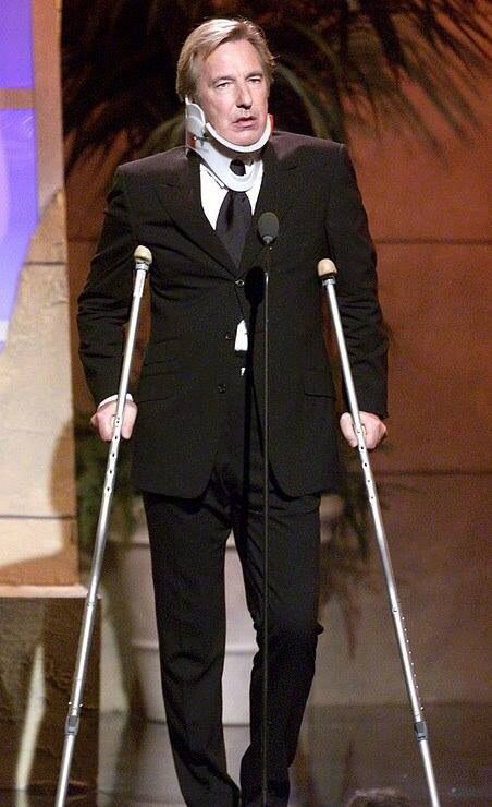 """September 23, 2000 at the 15th Annual American Cinematheque Awards. Mr. Rickman was pretending to be injured after his fall from the Nakatomi building as Hans Gruber in """"Die Hard."""""""