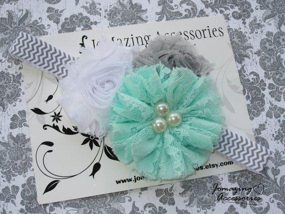 Baby Girl Headband - Girl's Headband - Toddler Headband - Child Headband - Aqua Grey White Chevron Headband - Photo Prop - Vintage Chich Bow