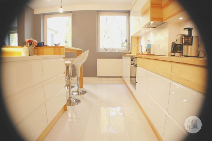 White gloss & Pine wood  with countertop stone.