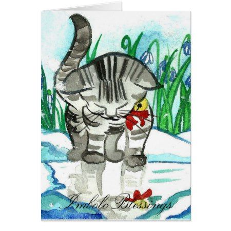 Imbolc Blessings Little Snow Cat Greeting Card - tap to personalize and get yours