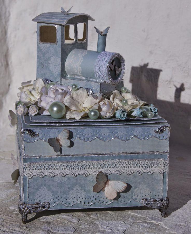 Mitt Lille Papirverksted: Babyblått Damplokomotiv og Sommerfugler