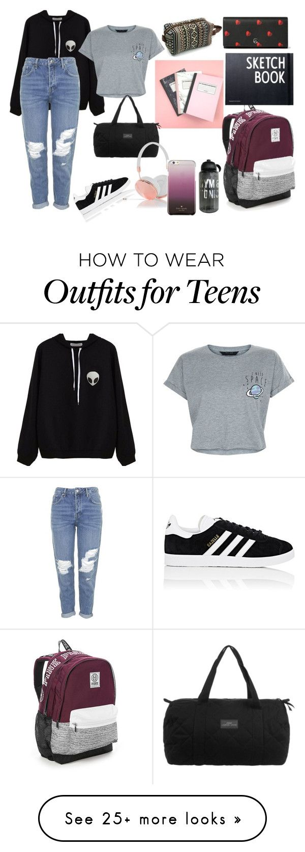 """""""School"""" by bangtan1306 on Polyvore featuring Victoria's Secret, Topshop, New Look, adidas, PS Paul Smith, Frends, Design Letters and Kate Spade"""