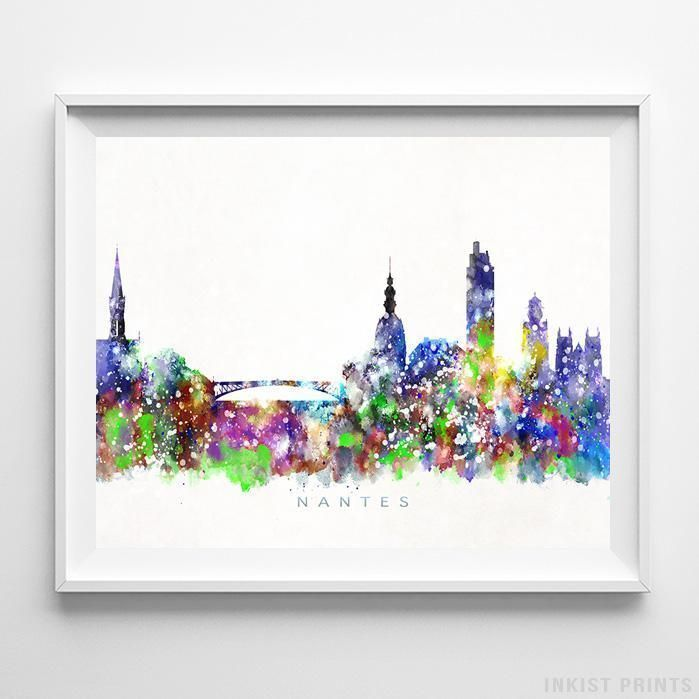 Nantes Italy Skyline Watercolor Print Kunst Omi Kunst