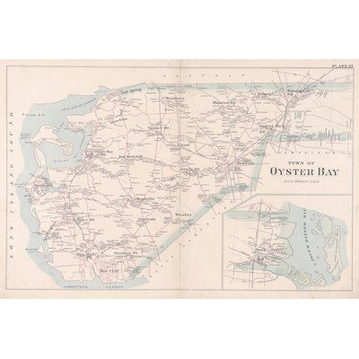 Alcott Hill '1891 Oyster Bay Long Island Map' Graphic Art Print on Canvas