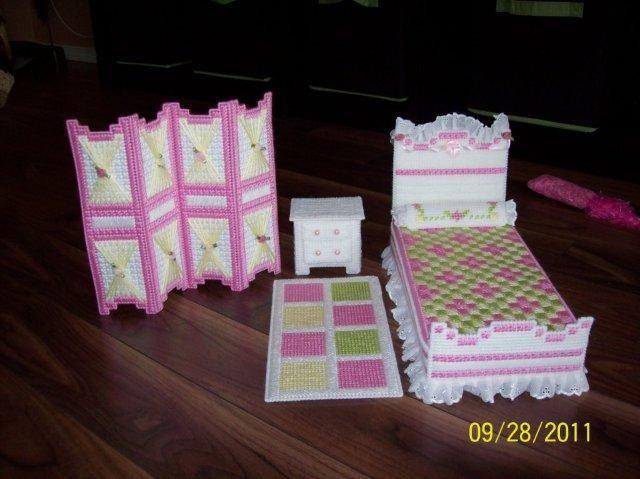 Plastic canvas homemade Barbie bedroom set