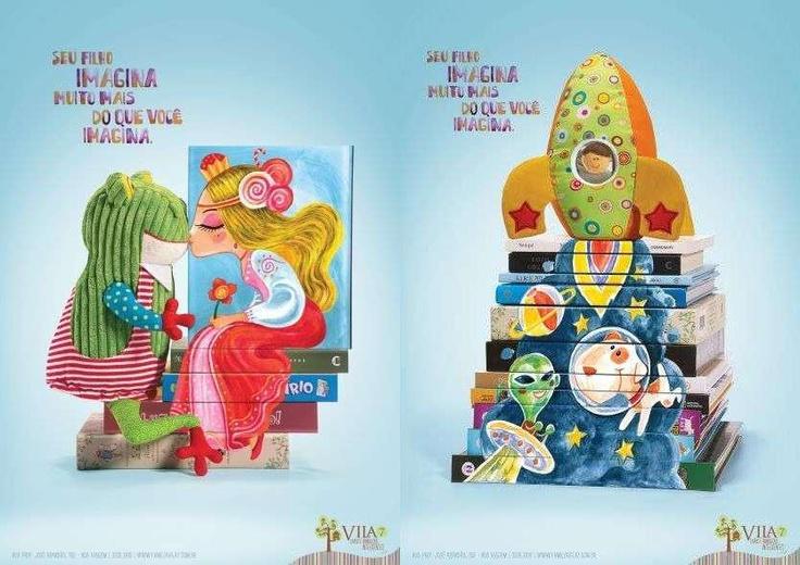 """Bardzo estetyczna i przekonująca kampania reklamowa:    """"Twoje dziecko wyobraża sobie dużo więcej niż ty. Vila7. Książki i inteligentne zabawki"""""""