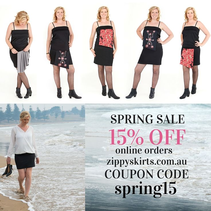 15% off Zippy Skirts versatile skirts and products for travel, mum's and work - enter coupon code spring15 at www.zippyskirts.com.au check-out