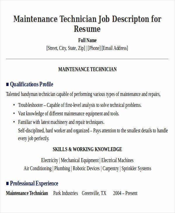 Apartment Maintenance Technician Resume Luxury Sample Maintenance Technician Resume 9 Examples In Word In 2020 Job Resume Samples Nurse Job Description Mechanic Jobs