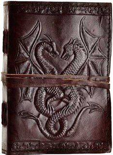 Double Dragon Hand Tooled Leather Blank Book