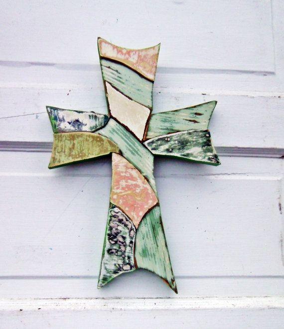 Mosaic Cross,Reclaimed Wood Cross, Celtic Cross, Distressed Cross, Rustic Wall Decor, Christening Cross
