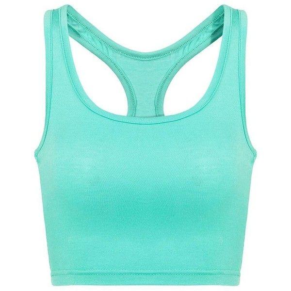 Yoins Yoins Mint  Crop Top ($8.19) ❤ liked on Polyvore featuring tops, shirts, crop tops, blue, green, camisoles & tank tops, blue shirt, mint crop top, cami top and mint green shirt