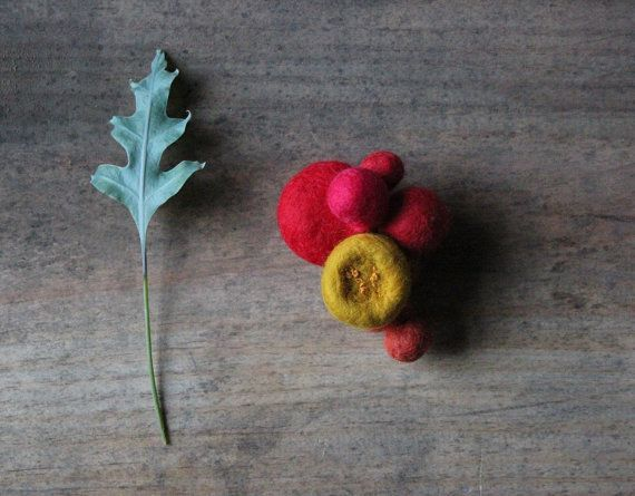 Mustard, magenta, red, cinnamon and orange wool felt brooch pin with mustard embroidery - The Hothouse Flowers brooch