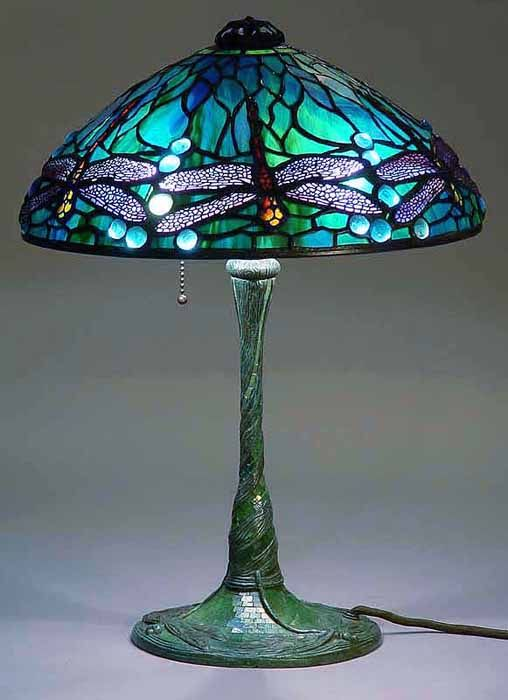 """14"""" Dragonfly Tiffany Lamp #1585 on Glass Mosaic bronze base #356    I had no idea there were so many to choose from!"""