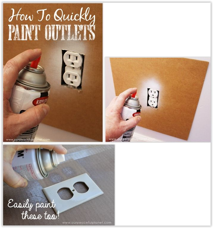 How To Quickly Spray Paint Electrical Outlets & Covers ... make a cardboard cut out for the outlet to protect your wall when spray painting the outlet ............ #DIY #electrical #outlet #plug #cover #spraypaint #cardboard #howto #tips #wall #decor #crafts