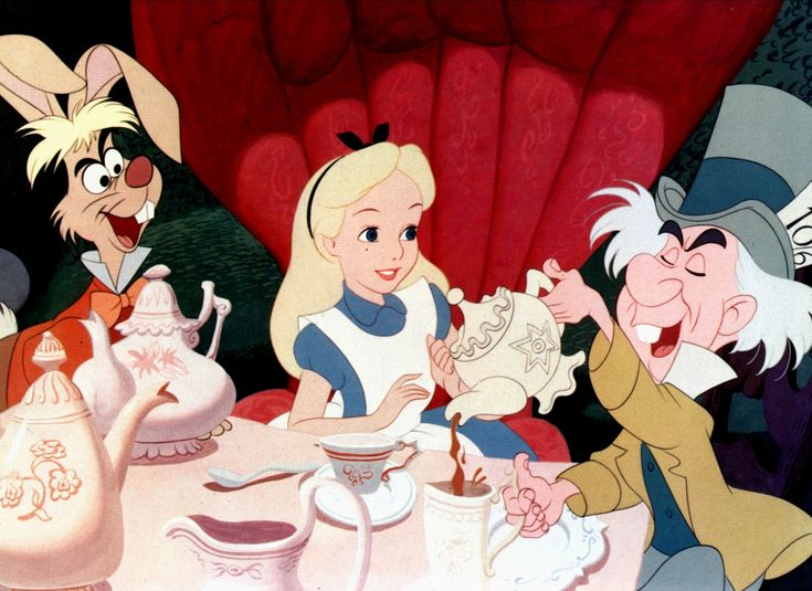 Alice at the Mad Hatter's tea party from the 1951 Walt Disney animated film Alice in Wonderland