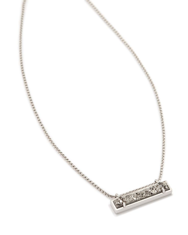 Leanor Bar Pendant Necklace in Platinum Drusy