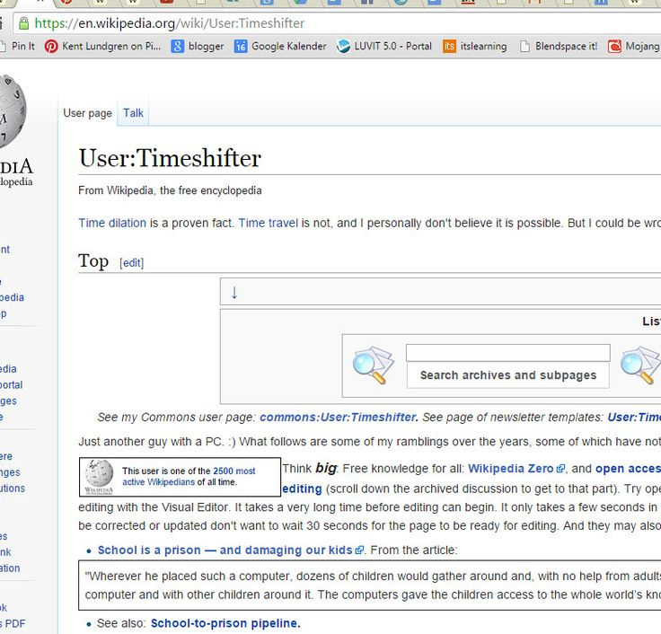 Timeshifter på engelska Wikipedia https://en.wikipedia.org/wiki/User:Timeshifter . Hen har en metasida: https://meta.wikimedia.org/wiki/User:Timeshifter . Har intressanta användarboxrar: https://meta.wikimedia.org/wiki/User:Timeshifter/Userboxes och på: https://en.wikipedia.org/wiki/User:Timeshifter/Userboxes , se t ex boxen: https://meta.wikimedia.org/wiki/User:Timeshifter/Userboxes/Unresolved_content_disputes .