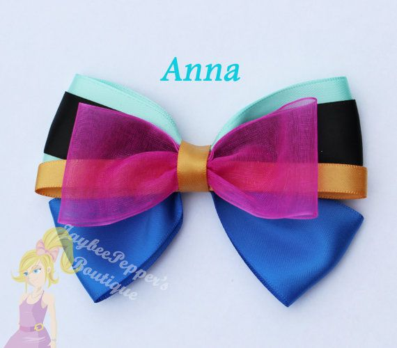 Anna hair bow Frozen hair bow girls hair clip disney Character inspired hair bow aqua gold fuchsia