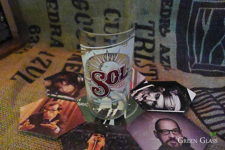 Vaso reciclado botellas cerveza SOL