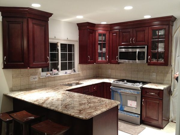 Backsplash With Typhoon Bordeaux Granite Typhoon