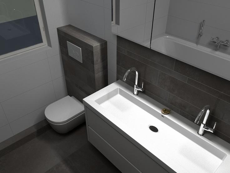 In deze badkamer is de tegellijn van Tagina Warm Stones mooi zichtbaar ...