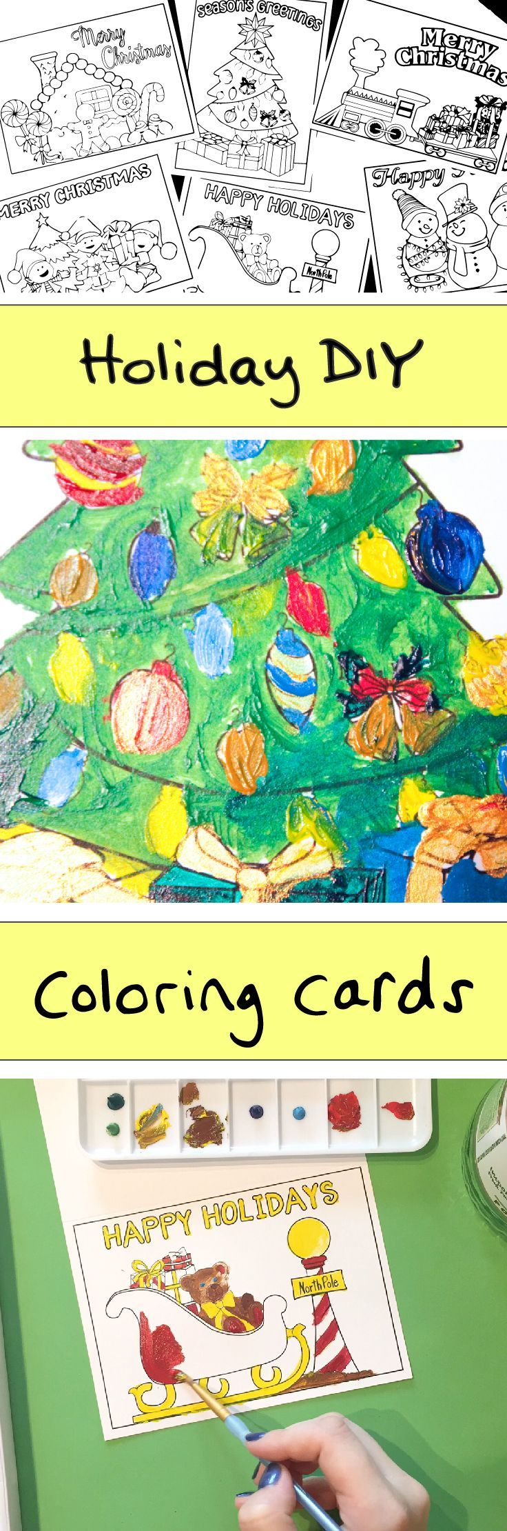 Here's a fun holiday DIY idea for kids: color your own Christmas cards! This painting tutorial for Christmas coloring cards illustrates how to paint coloring book style graphics with acrylic paint. It's a holiday DIY idea inspired by TheInviteLady.com. Cards include snowmen, bears, presents, gifts with bows. You can use markers, crayons or colored pencils. http://www.sipbitego.com/holiday-diy-idea-christmas-coloring-cards/
