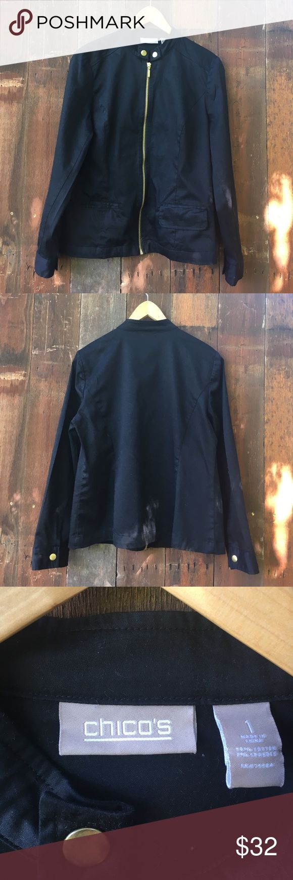"""Chico's Black Zip Up Jacket/Blazer Size 1 Chico's Women's Black Zip Up Blazer/Jacket. Chico's size 1 (conventional size small 8-10). Features a gold zipper, 2 front pockets (one with flap one without), snap cuffs. Measures: Armpit to Armpit 20"""", Length from top of shoulder 23"""", Sleeve Length 23"""". Jacket is in excellent condition. Chico's Jackets & Coats Blazers"""