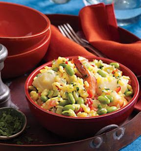 Seafood Paella With Edamame: This is the only complete veggie protein, delivering all 9 of the amino acids that help build fat-burning muscle