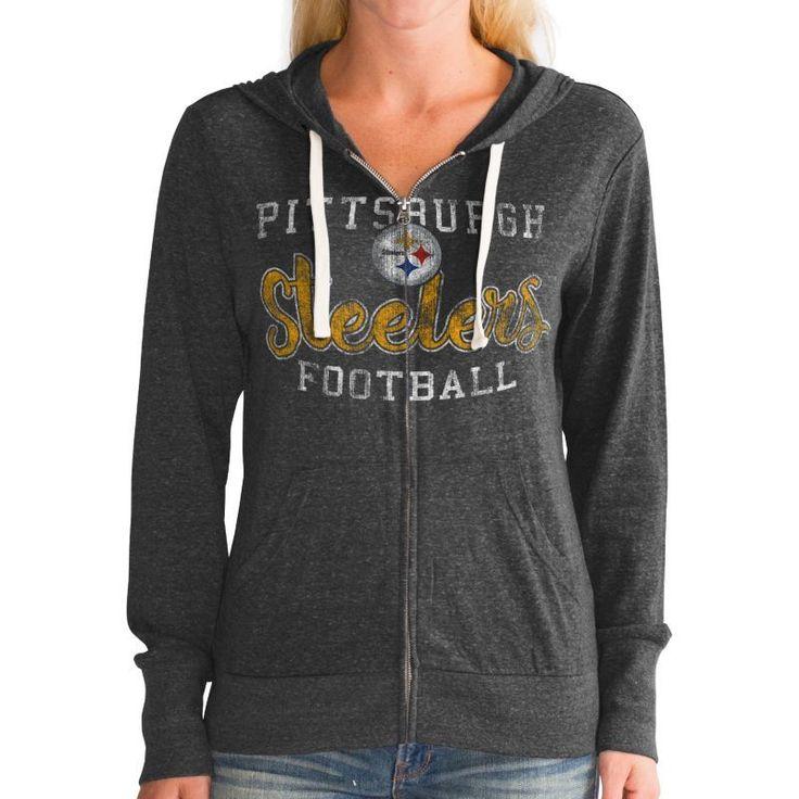 Touch by Alyssa Milano Women's Pittsburgh Tri-Blend Full-Zip Black Hoodie, Size: Medium, Team