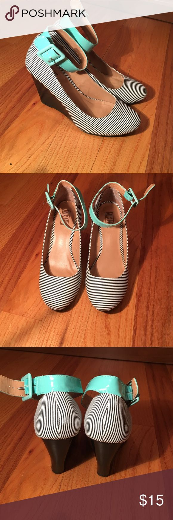 Mix no. 6 wedges Striped wedges with mint green ankle strap, approx. 3 inches high Mix No. 6 Shoes Wedges